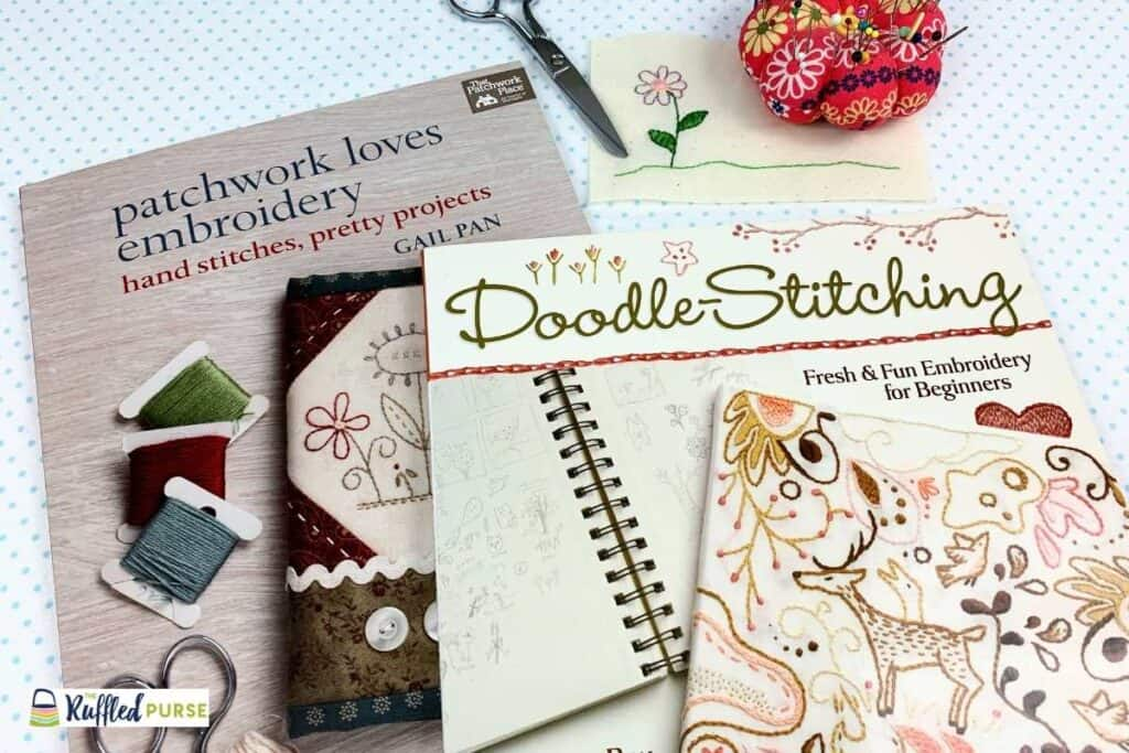 Two books with embroidery projects