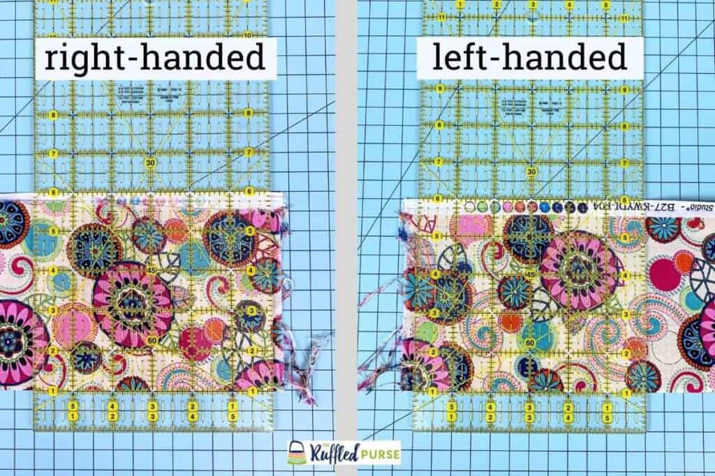 how to lay the fabric on the mat for the first cut