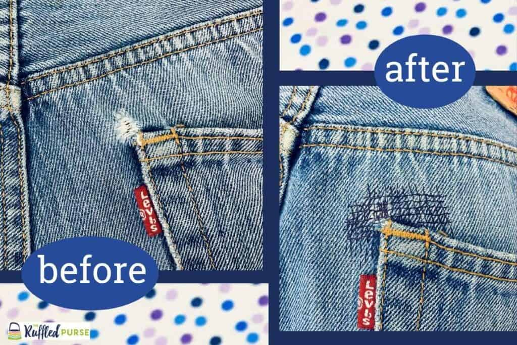 Before and after shots of the pocket repair