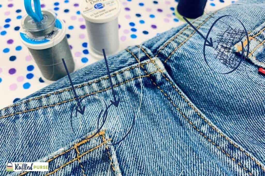 Different colors of thread to mend denim
