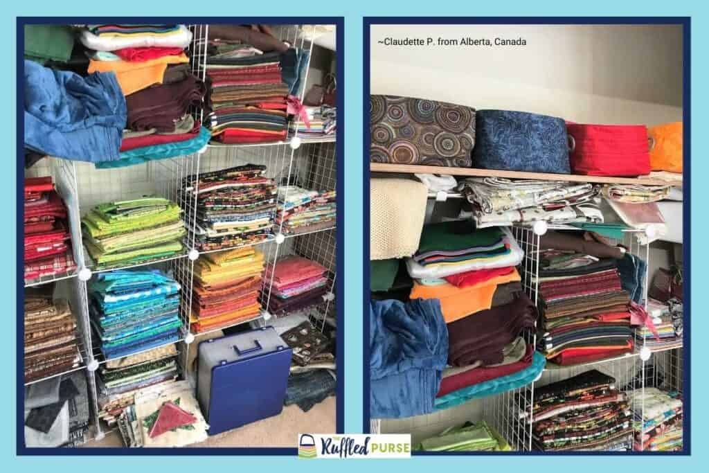 store fabric by color on shelves and fabric baskets