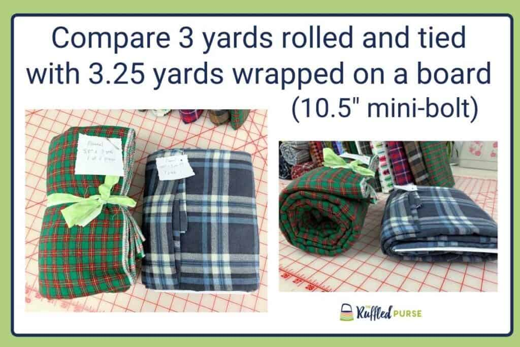 Comparing 3 yards of fabric rolled and tied with a mini-bolt