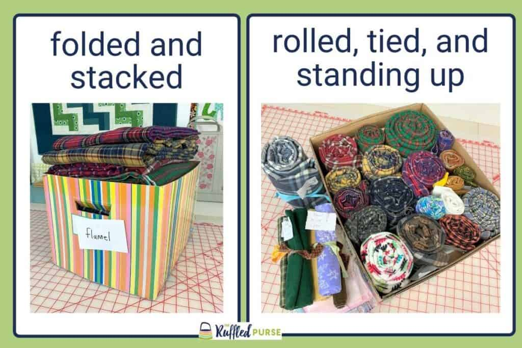 Comparing folded and stacked fabric with rolled, tied, and standing up.