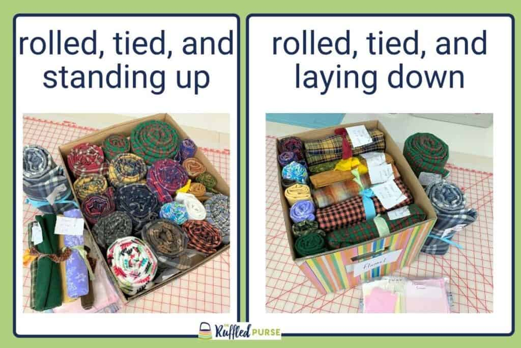 Comparing fabric that is rolled and tied being stored standing up and laying down.