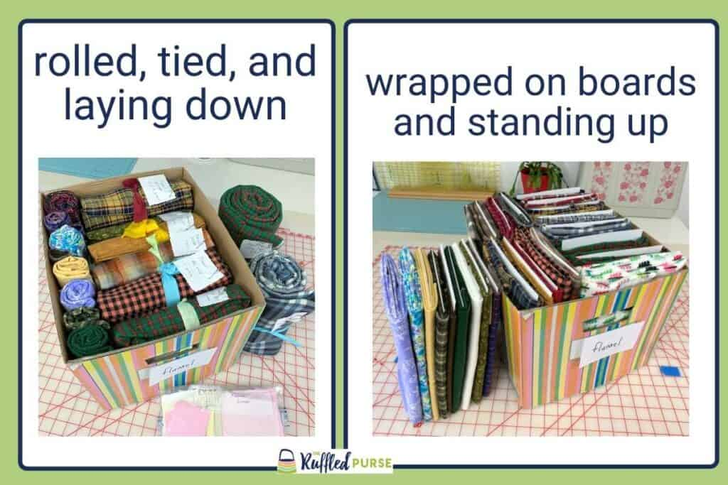Comparing fabric rolled, tied, laying down and wrapped on boards standing up