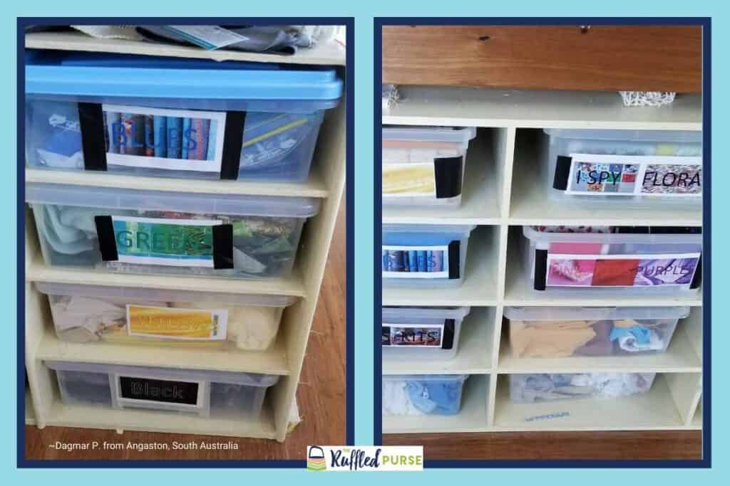 storing fabric in color-coded tubs