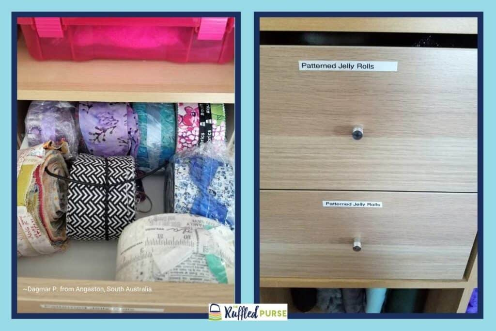 storing jelly rolls in labeled drawers
