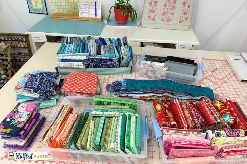 Small fabric pieces folded and stacked