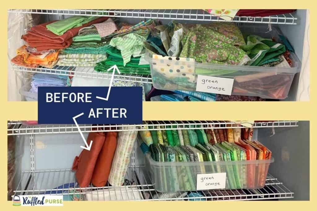 Before and after pictures of a shelf covered in fabric