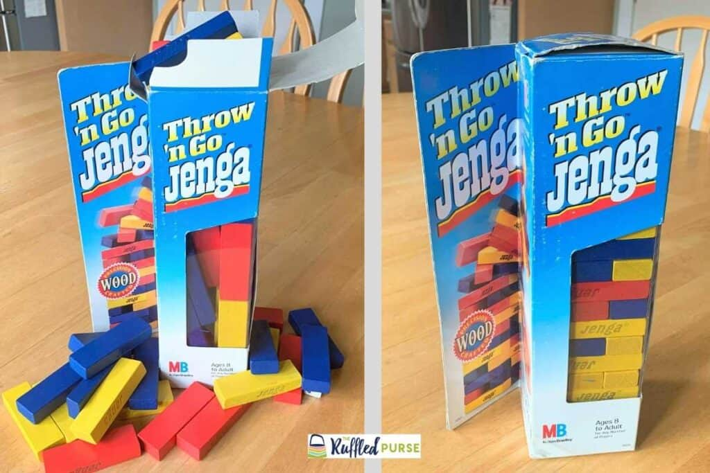 Jenga game thrown in the box and stacked in the box.