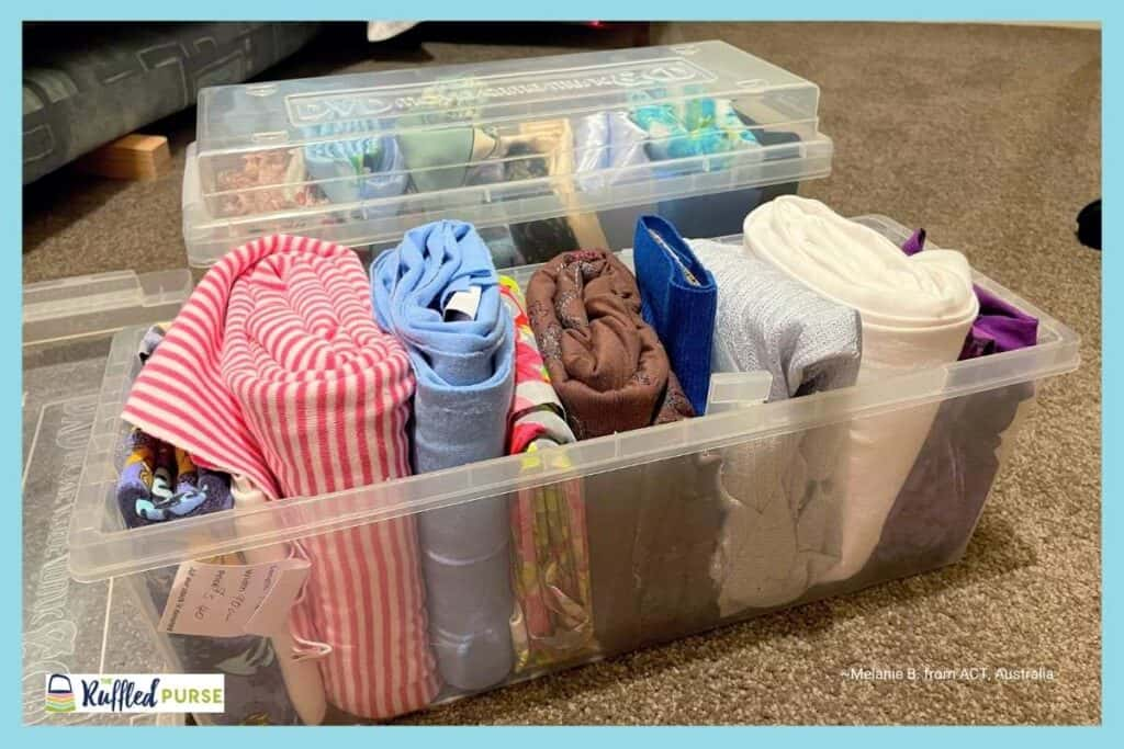 store fabric in dvd containers