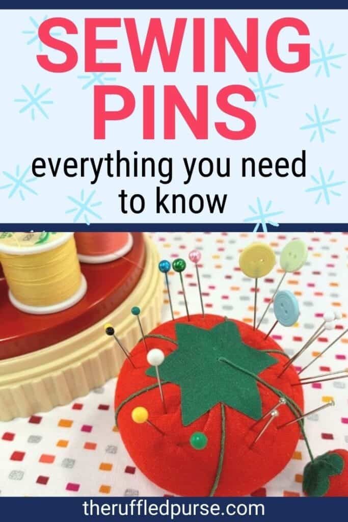 pinterest image of a tomato pin cushion with pins