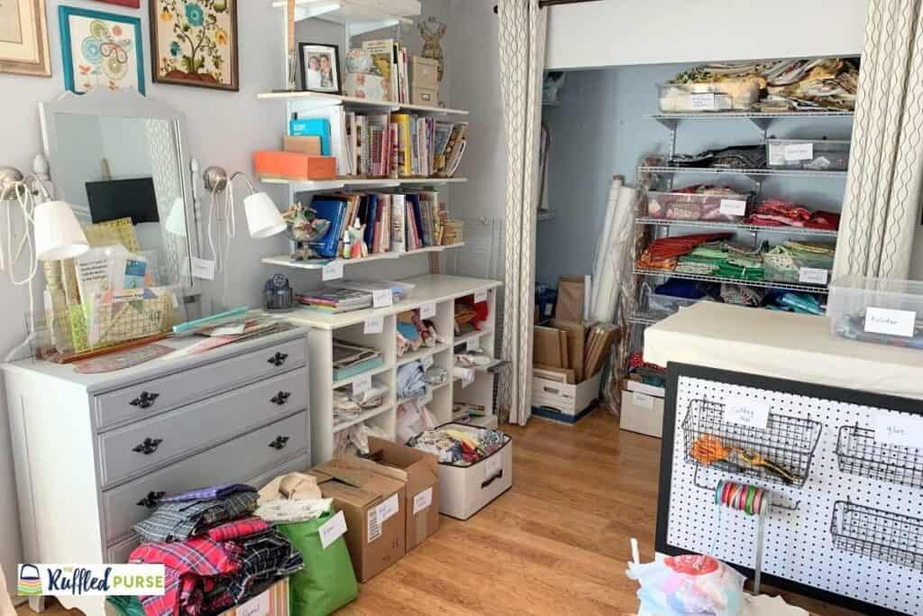 fabric room is items sorted in boxes and bins
