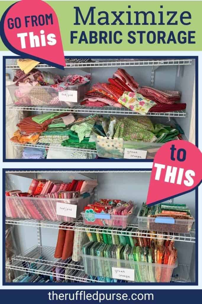Pinterest image showing before and after of shelves with fabric on them.
