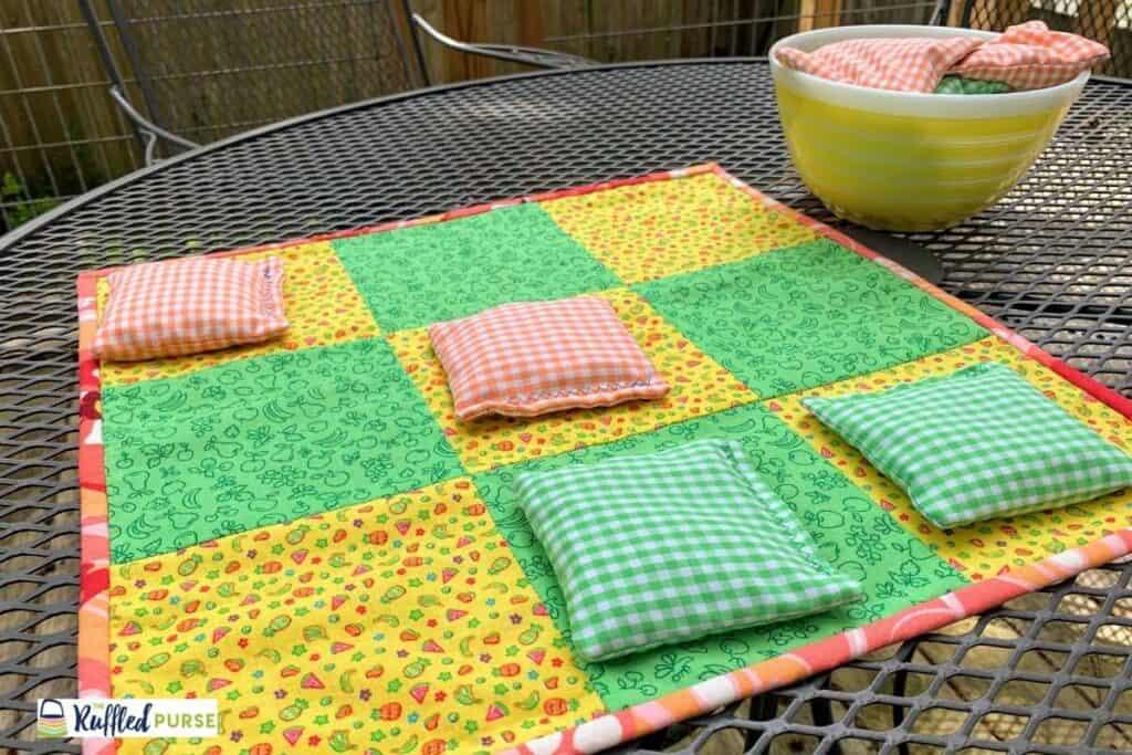 fabric tic-tac-toe-board with bean bags
