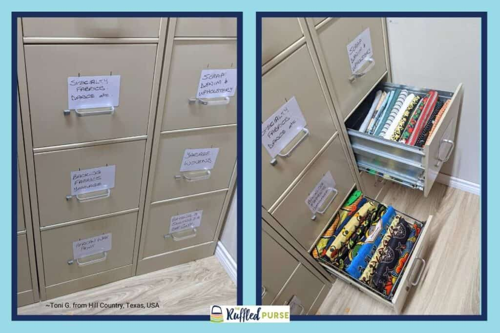 store fabric in filing cabinets