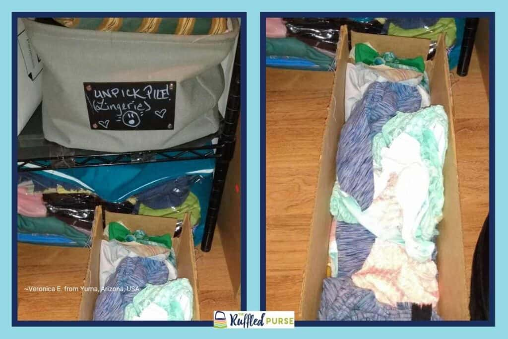 Store fabric in zip-up storage bags and boxes
