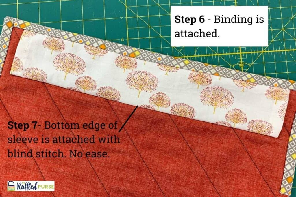 steps 6 and 7 in attaching a permanent hanging sleeve