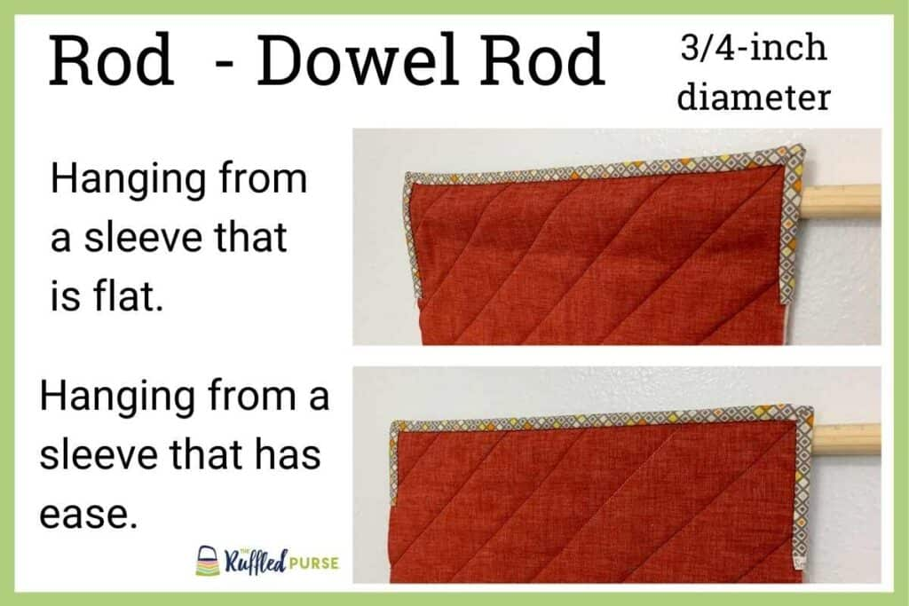 hanging sleeve with a dowel rod