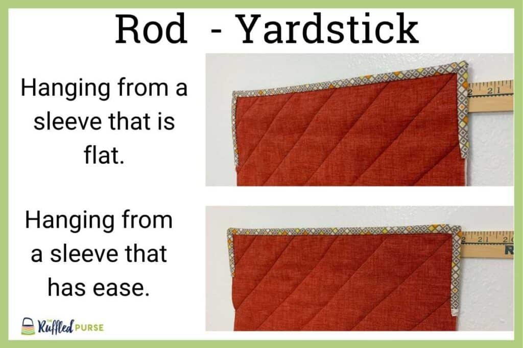 hanging sleeve with a yardstick