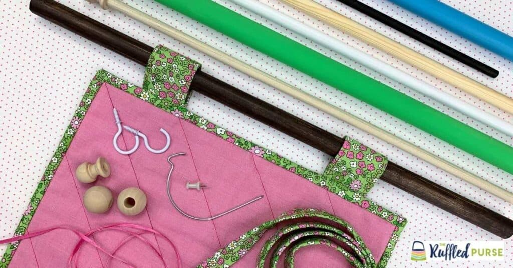quilt hanging tabs and a variety of dowel rods