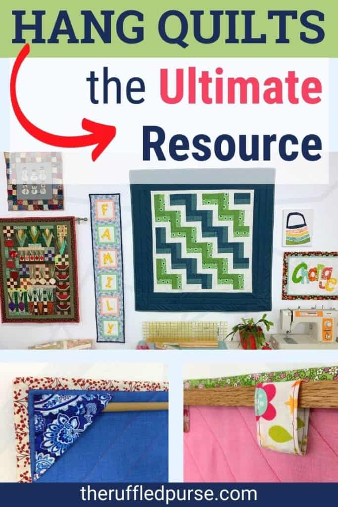 pinterest image of ways to hang quilts