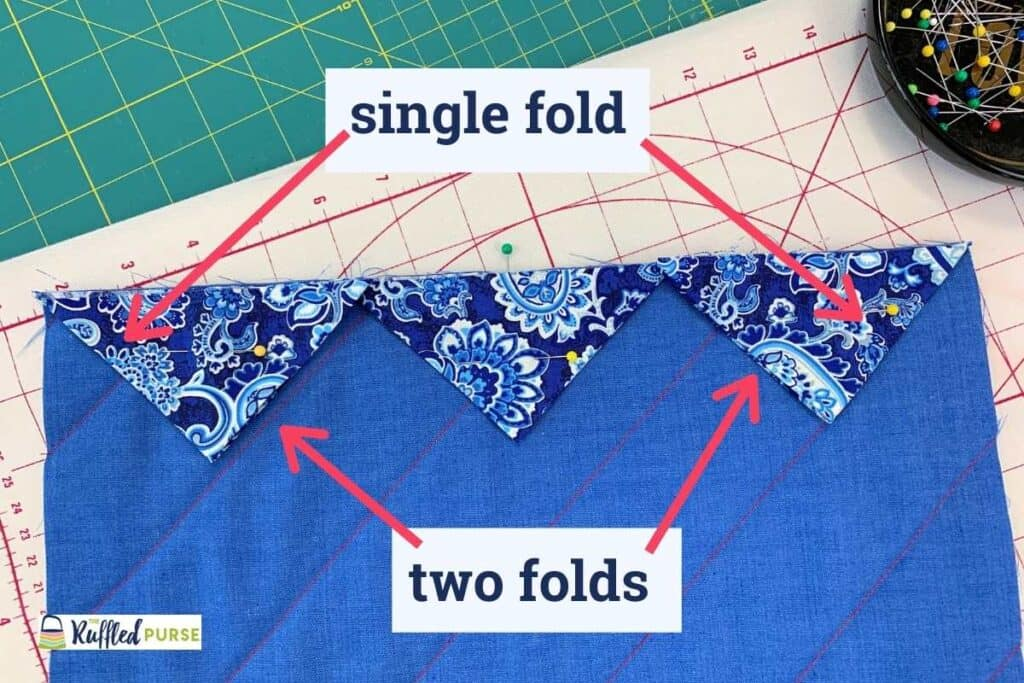 Place the triangles on the quilt top