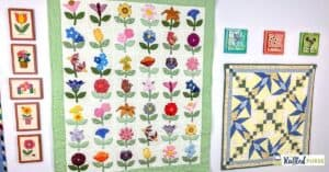two quilts hanging on the wall