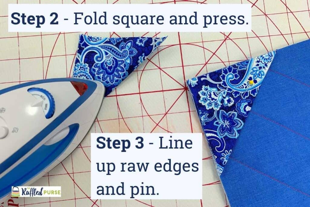 Steps 2 and 3 on making permanent triangle corners