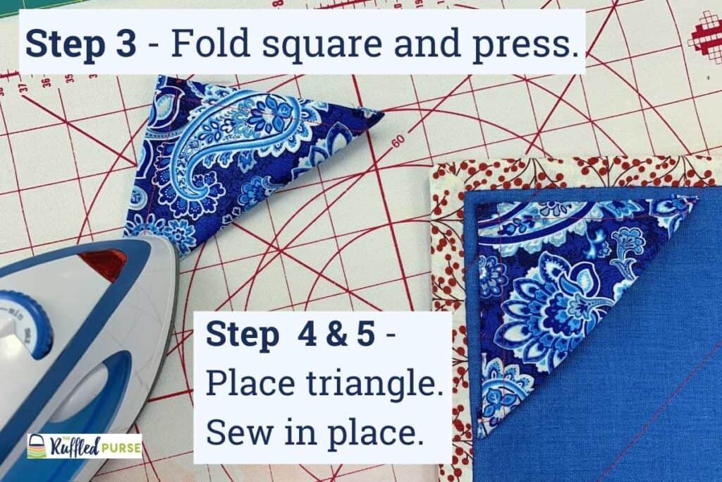 Press, position, and sew triangle corner in place.