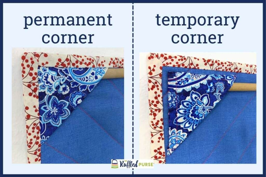 permanent or temporary corners to hang quilts