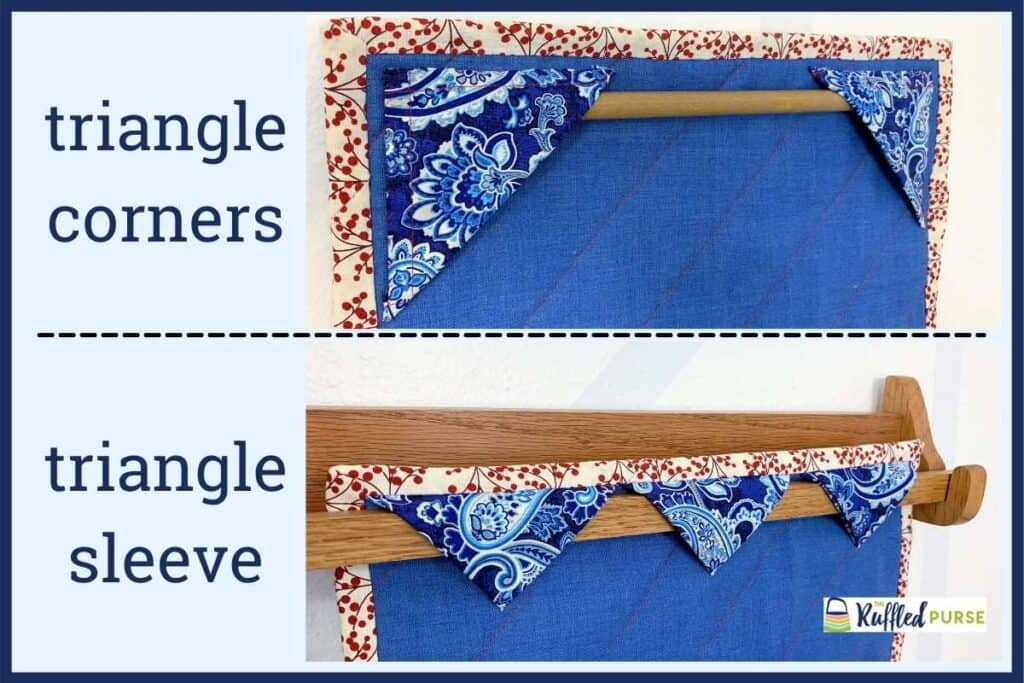 two ways to use triangles to hang quilts