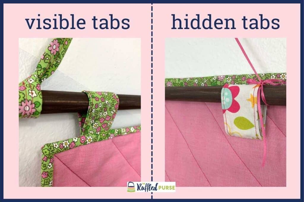 visible tab on the left and hidden tab on the right