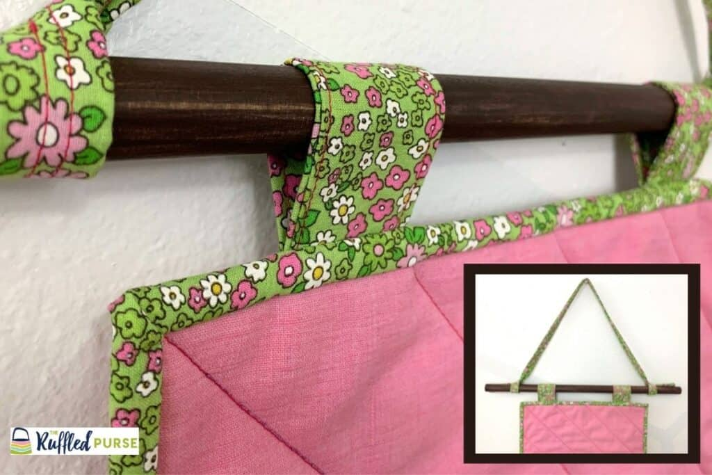 Hanging a quilt with visible tabs. Inset image - full view of rod and handmade tape.