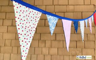 Close up of bunting flags