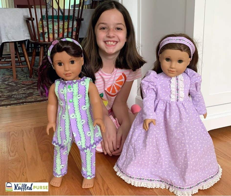 My niece and her American Girl dolls with clothes that were made by Grandma.