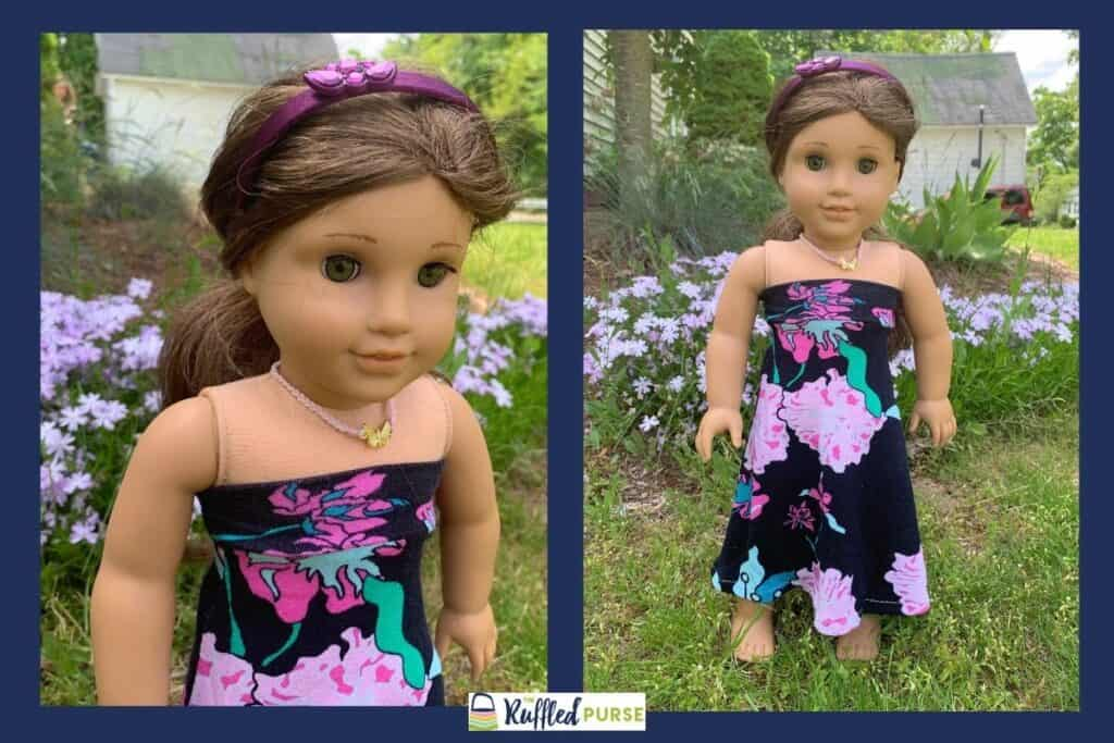 Close up and full view of a doll clothes skirt pattern that was made into a sleeveless dress.