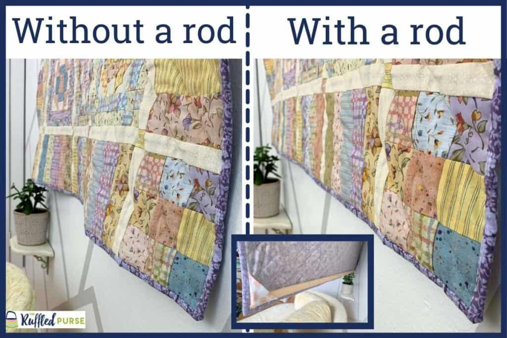 A quilt hanging on the wall with and without a rod along the bottom.