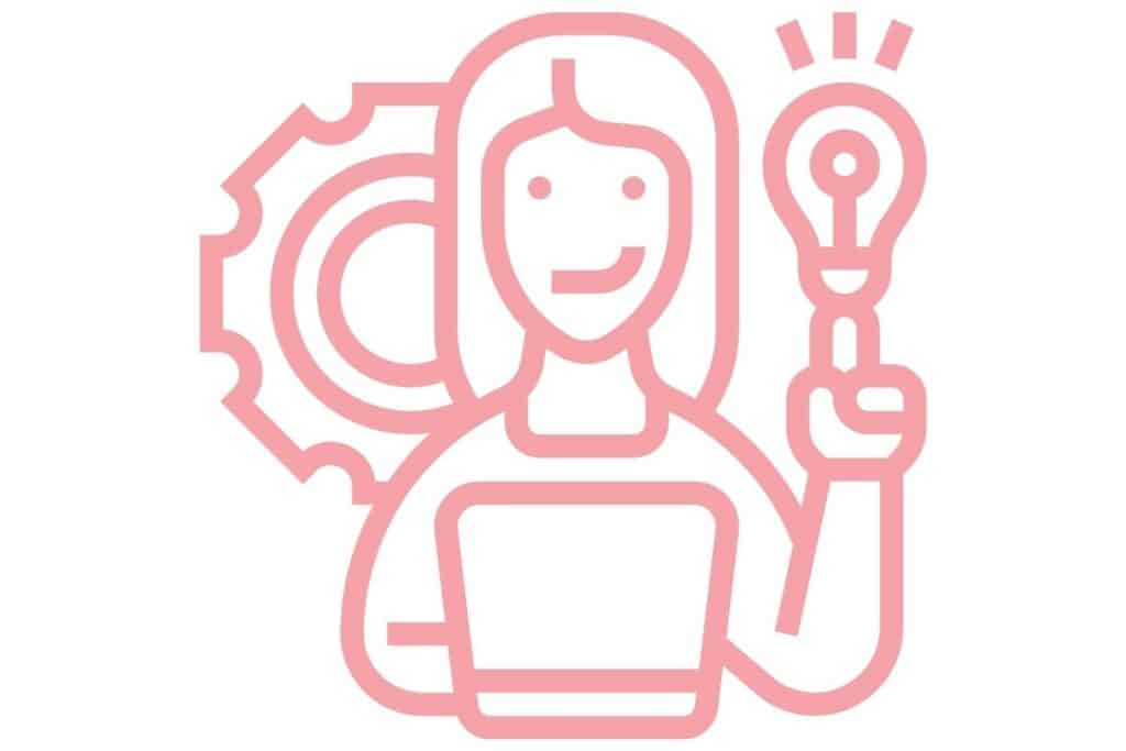 pink graphic of a female on a computer with a light bulb on one hand and a gear behind her head
